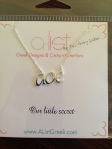 Our new AOE necklace in the packaging I designed this morning!