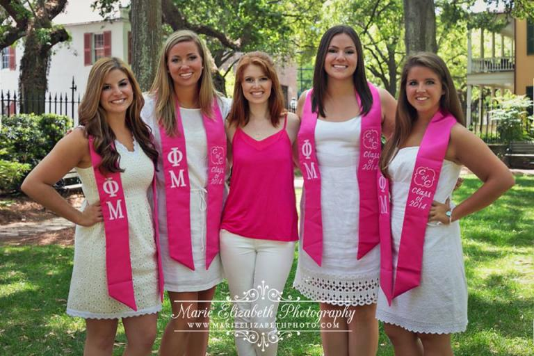 CofC Phi Mu seniors with our intern, Christine