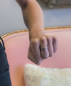 Alpha Gamma Delta Stack Rings Silver on Hand