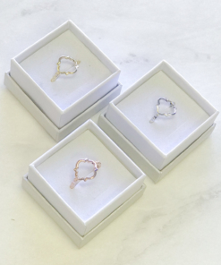 quat rings silver gold rose gold