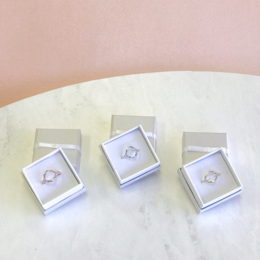 quatrefoil rings silver gold rose gold