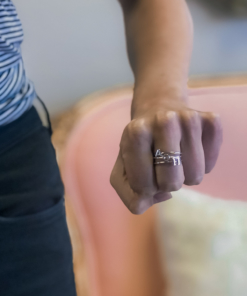 Alpha Omicron Pi Stack Rings Silver on Hand