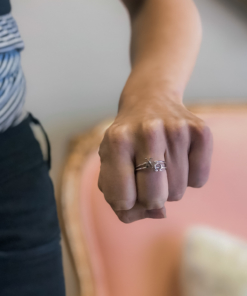 Chi Omega Stack Rings Silver on Hand