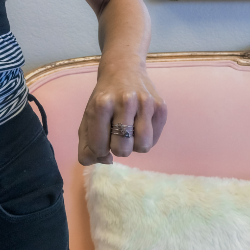 Theta Phi Alpha Stack Rings Silver on Hand