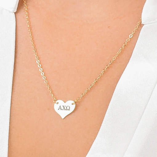 Gold Alpha Chi Omega Heart Necklace Closeup
