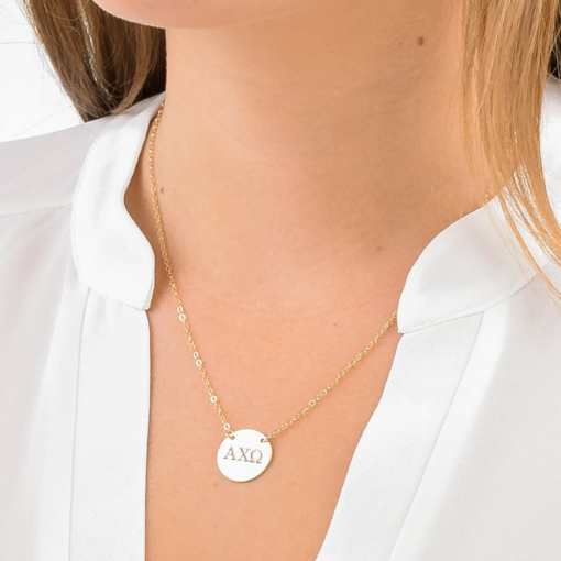 alpha chi omega gold circle necklace closeup