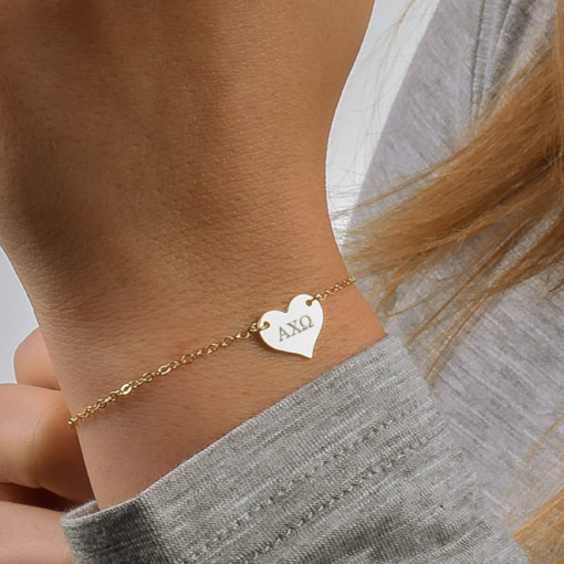 alpha chi omega sorority heart bracelet gold closeup