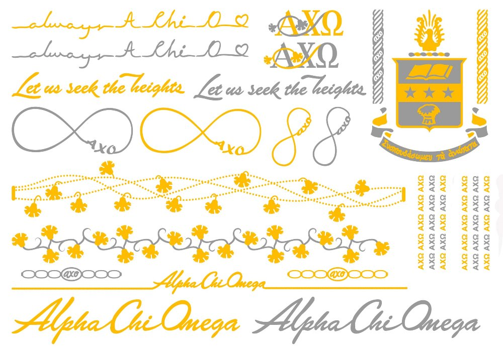 Alpha Chi Omega Metallic Temporary Jewelry Set A List Greek Designs