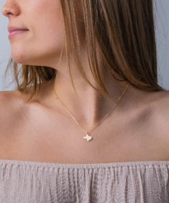 gold fill texas state necklace on model