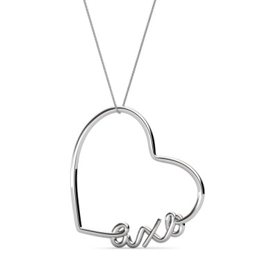 AXO-Heart-Script-Necklace-Silver-Front