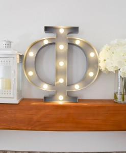 phi marquee greek letter light