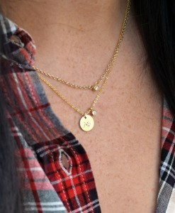 Sorority-CZ-Drop-Necklace-Gold-on-neck