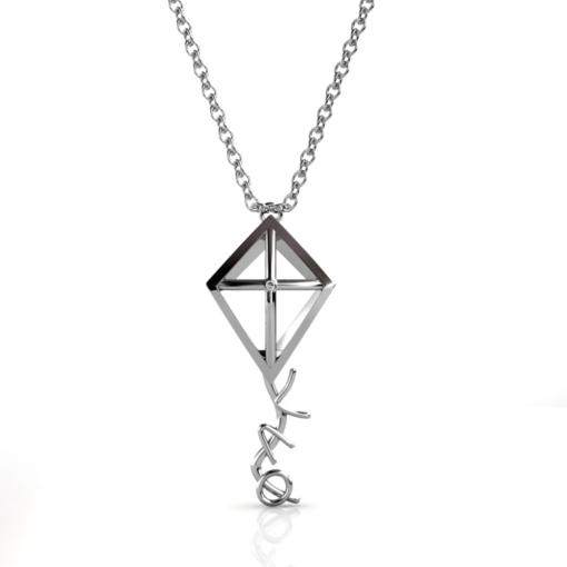 Theta-Kite-Necklace-Silver-Front