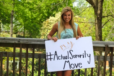 "Sigma Kappa from Elon University launched the #MyActualSororityMove Campaign to highlight real ambitions and personalities of sorority women. This member's post reads: """"Worried about surviving rush week? Try surviving military school boot camp #ActualSororityMove."" Photo Credit: Elon University Sigma Kappa"