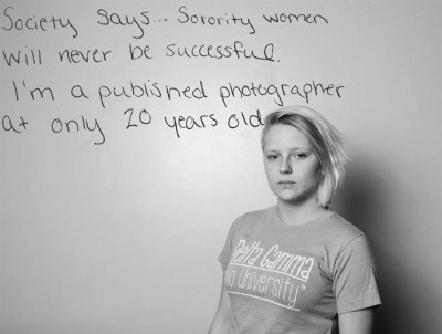 "Members of Delta Gamma, led by students Kaitlin Hatton and Elizabeth Harris, shot the ""Defying Stereotypes"" photo series featuring their Ohio University Sorority. They highlighted accomplished women and their ambitions to prove that sorority members are more than their stereotype. Photo Credit: Kaitlin Hatton"