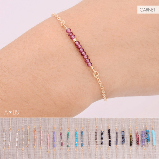 Gem Bar Bracelet Compilation Garnet