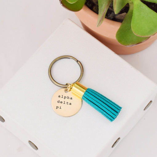 Tassel-Keychain-Teal-alpha-delta-pi-courier-new