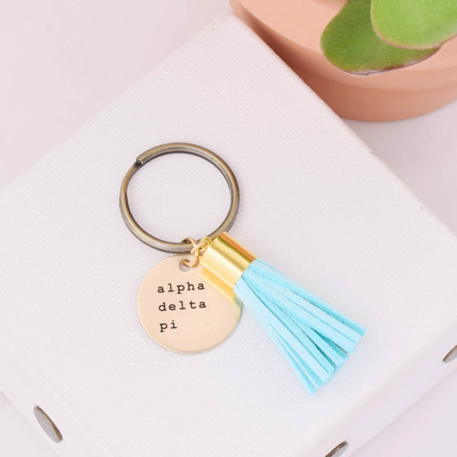Tassel-Keychain-Turquoise-alpha-delta-pi-courier-new