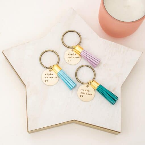 alpha-omicron-pi-new-engraved-tassel-keychain-trio-star-tuquoise-lavender-teal