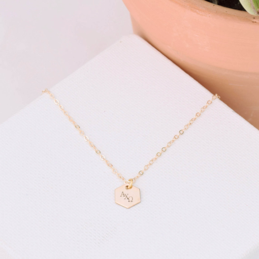 Hexagon-Necklace-Gold-alpha-chi-omega