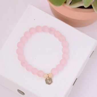 A-List Greek Sea Glass Bracelet Blossom Pink