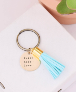 Tassel-Keychain-Turquoise-faith-hope-love-courier-new
