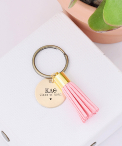 greek letter class of 2021 blush tassel keychain