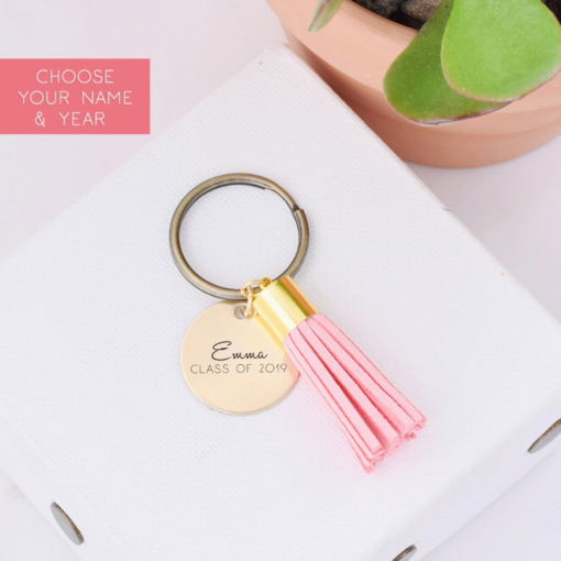 name-class-of-2019-blush-tassel-keychain