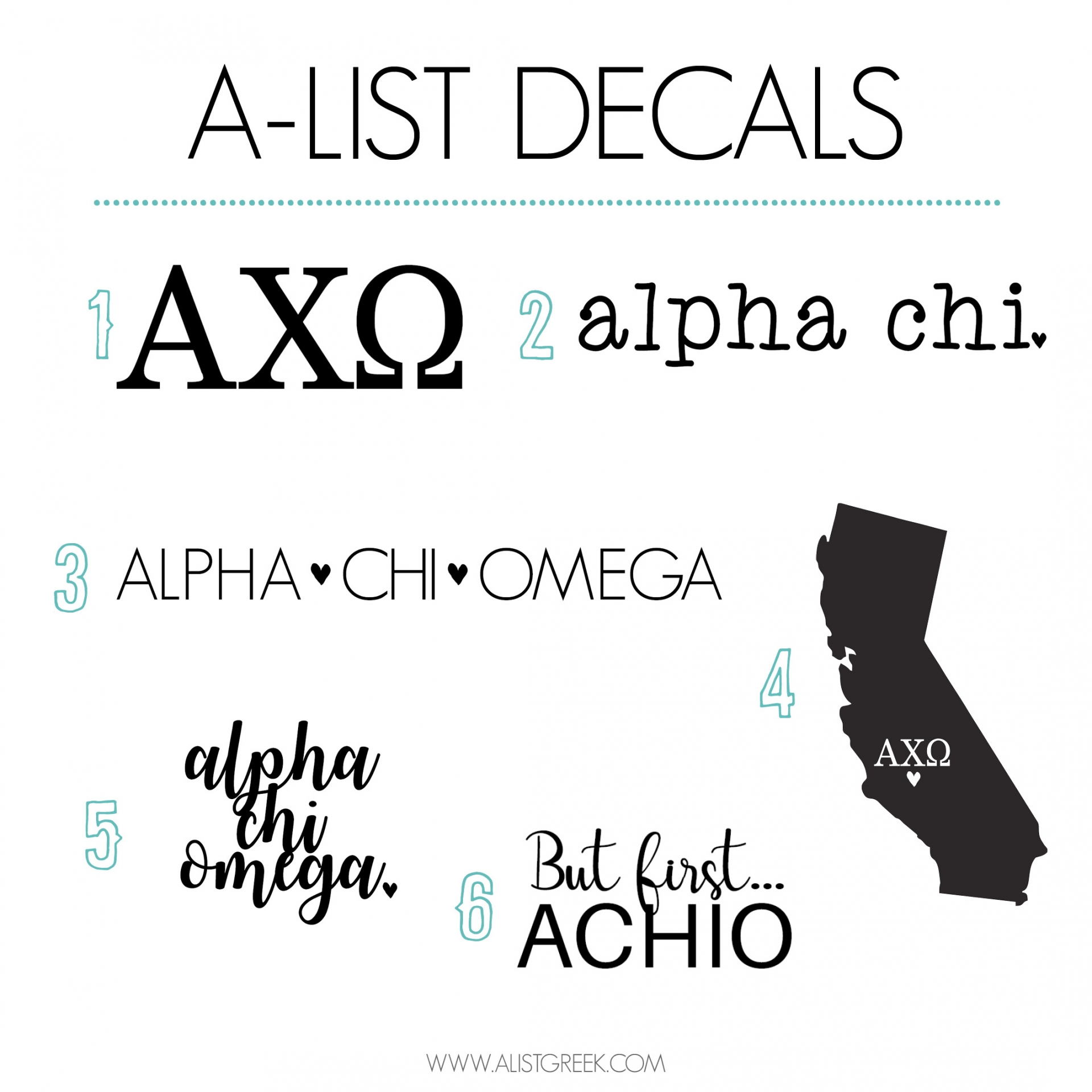 Alpha Chi Omega Sticker Set A List Greek Designs