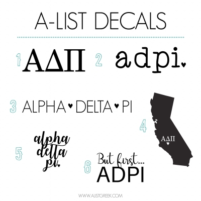 Alpha Delta Pi Decal 6 Pack from www.alistgreek.com