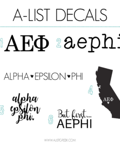 Alpha Epsilon Phi Decal 6 Pack from www.alistgreek.com