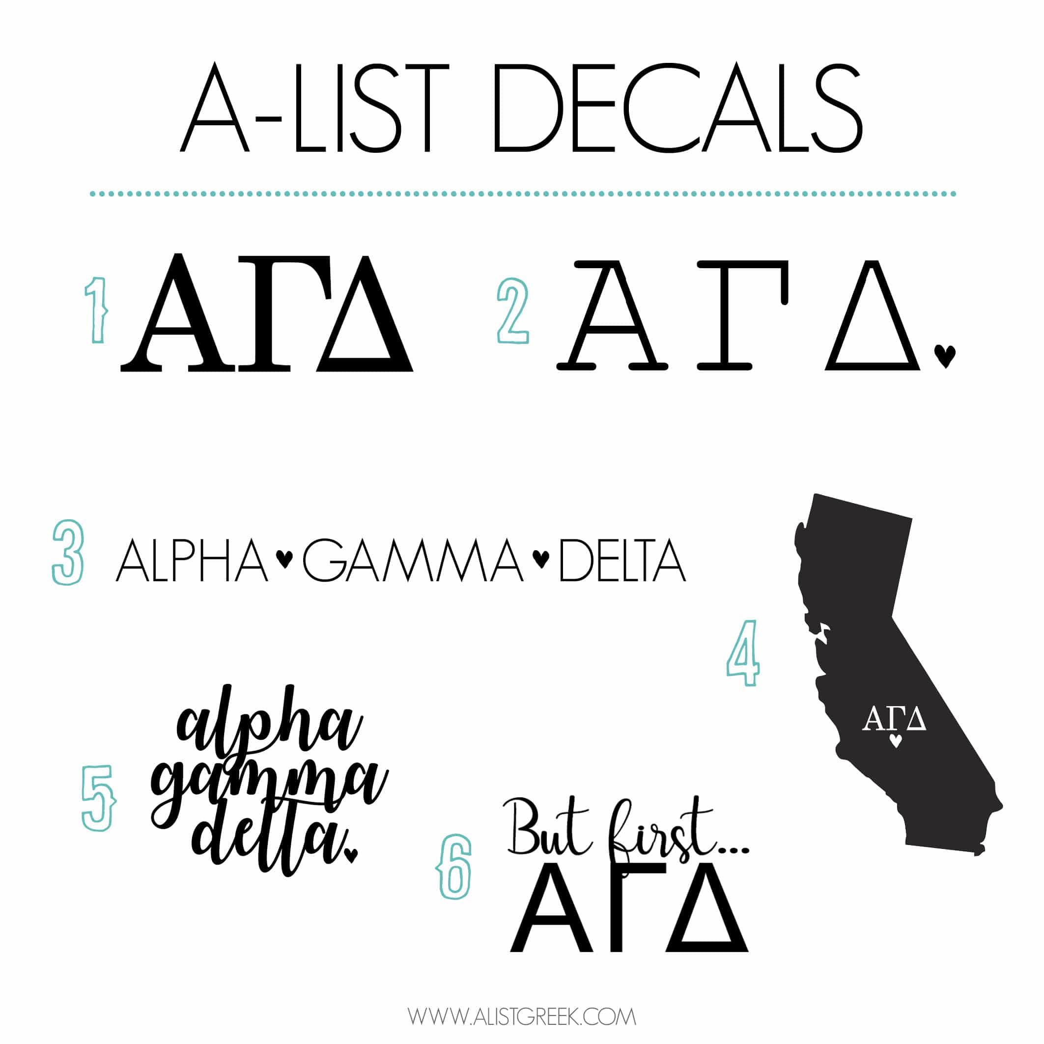Alpha Gamma Delta Sticker Set A List Greek Designs