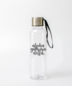 Alpha Gamma Delta Black Script Water Bottle from www.alistgreek.com