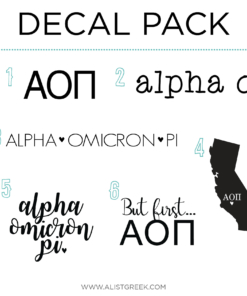Alpha Omicron Pi Decal Set