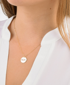 Alpha Omicron Pi Med Charm Necklace CloseUp