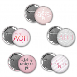 Alpha Omicron Pi Pin Back Button Mock Up Collage