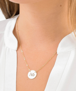 Alpha Phi Circle Necklace Close Up