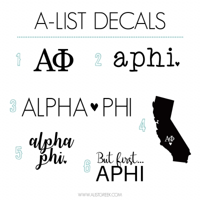 Alpha Phi Decal 6 Pack from www.alistgreek.com