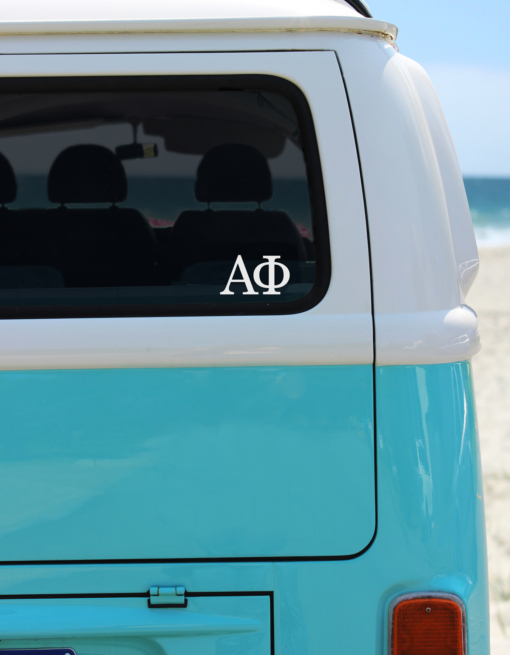 Alpha Phi White Greek Letter Decal from www.alistgreek.com