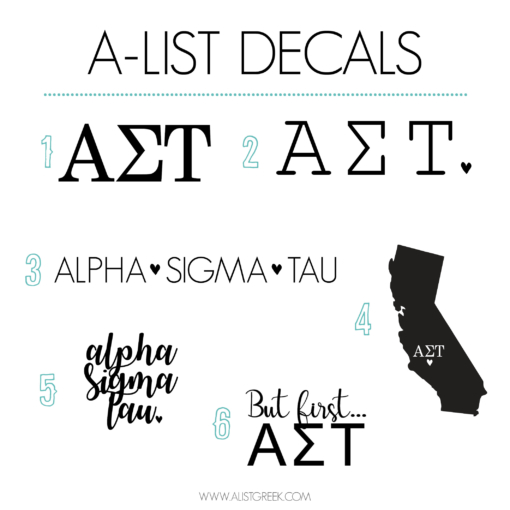Alpha Sigma Tau Decal 6 Pack from www.alistgreek.com