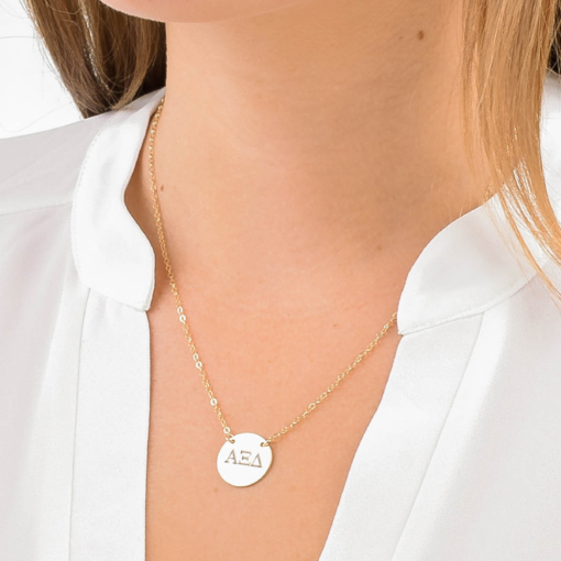Alpha Xi Delta Circle Necklace Close Up