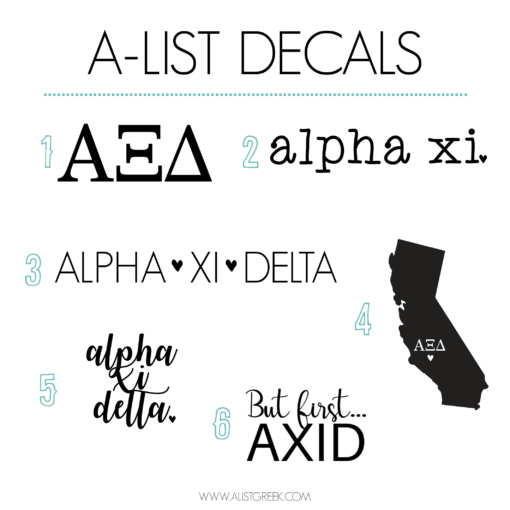 Alpha Xi Delta Decal 6 Pack from www.alistgreek.com