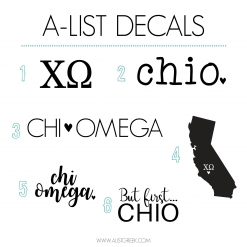 Chi Omega Decal 6 Pack from www.alistgreek.com