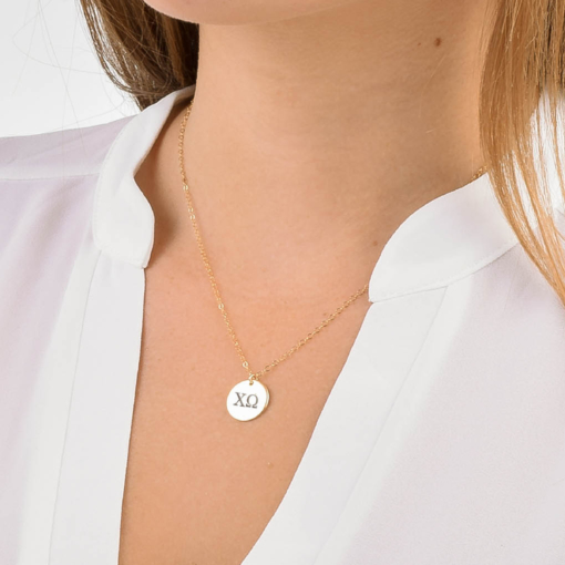 Chi Omega Med Charm Necklace CloseUp