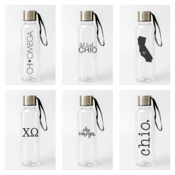 Chi Omega Water Bottles from www.alistgreek.com