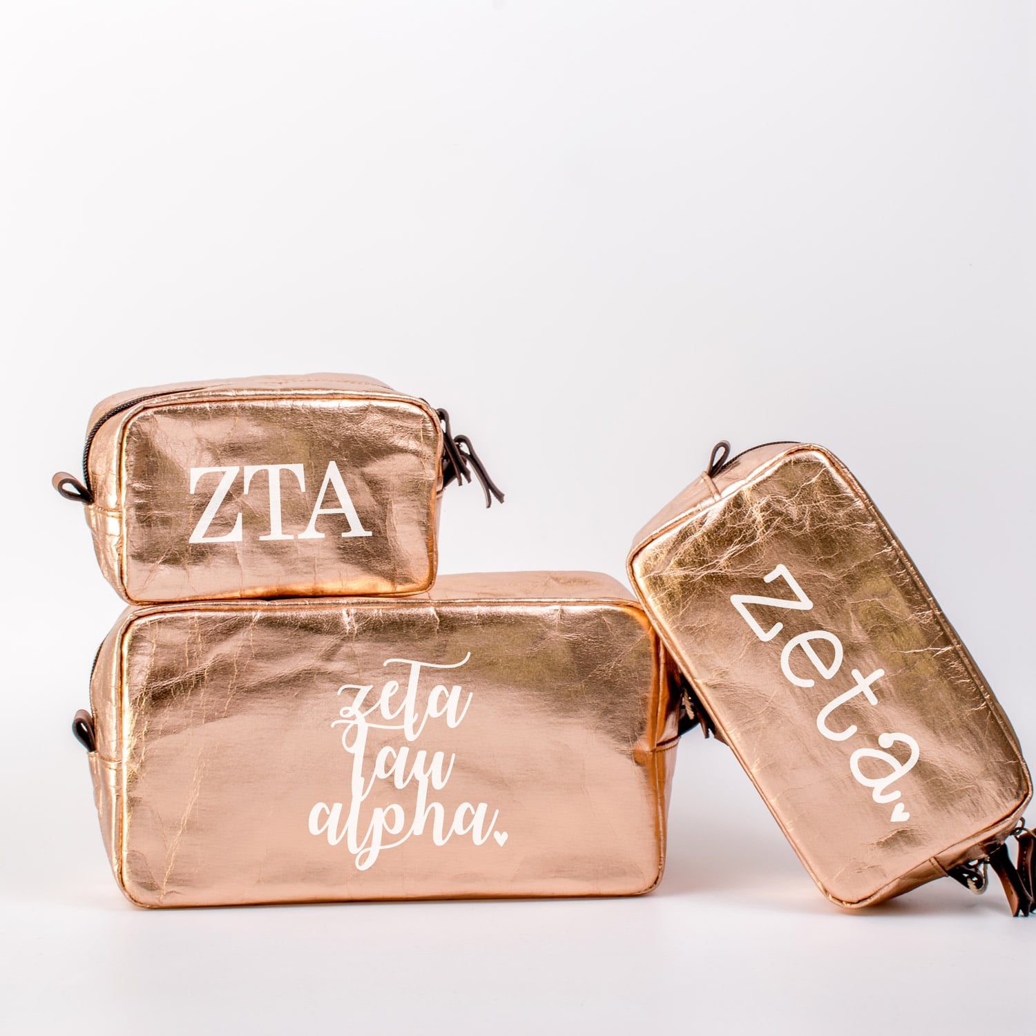 Zeta Tau Alpha Cosmetic Bag Set A List Greek Designs