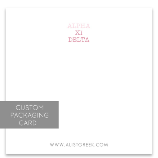 Alpha Xi Delta Custom Packaging Card