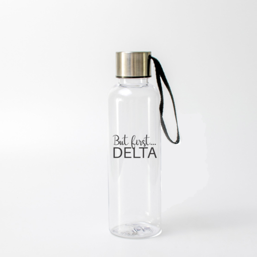 Delta Delta Delta But First Water Bottle from www.alistgreek.com