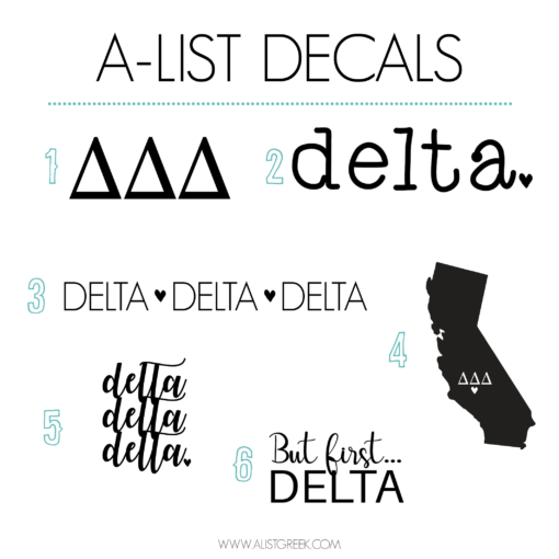 Delta Delta Delta Decal 6 Pack from www.alistgreek.com