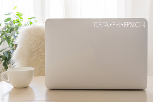Delta Phi Epsilon White Block Letter Decal from www.alistgreek.com